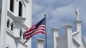 USA national flag blowing in the wind 4K stock video footage