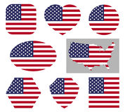 USA national flag icons. Vector usa national flag icons isolated on white background. American patriotic signs stock illustration