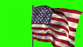 USA national flag waving on flagpole. On green screen background stock video