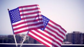 USA national hand flag. Waving . Great for any patriotic and american national holiday like 4ht of July, Flag day, national day or memorial day. Slow motion stock video footage