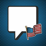 USA national speech bubble in blank and flag Stock Image