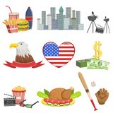 USA national symbols set, american attractions vector Illustrations Stock Photo