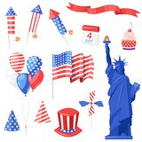 USA national symbols. Vector isolated design elements for USA Independence Day. 4 of July celebration icons.  Stock Photos