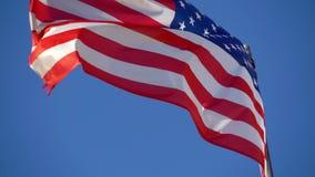 USA nationsflagga som vinkar i ultrarapid stock video