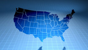 USA NETwork Technology (Loop). USA map on blue background of networked flashing dots and lines. Rotates in 3D space with lighting and shadow effects. Seamless stock video footage