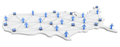 USA Networking Map Royalty Free Stock Image