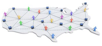 USA Networking Map Stock Image