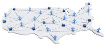 USA Networking Map Royalty Free Stock Photo
