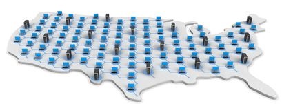 USA Networking Map Stock Images