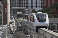 USA - Nevada - Las Vegas white driverless automatic monorail train. White driverless automatic las vegas 4-cars monorail train goes between two central stations stock image