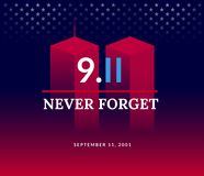 9/11 USA Never Forget September 11, 2001. Vector conceptual illu. Stration for Patriot Day USA poster or banner. Abstract background, red, blue colors Stock Illustration