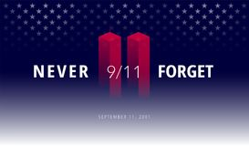 9/11 USA Never Forget September 11, 2001. Vector conceptual illu. Stration for Patriot Day USA poster or banner. Abstract background, red, blue colors Vector Illustration