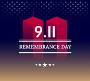 9/11 USA Never Forget September 11, 2001. Vector conceptual illu. Stration for Patriot Day USA poster or banner. Abstract background, red, blue, golden colors Stock Illustration