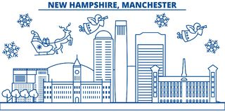 USA, New Hampshire , Manchester winter city skyline. Merry Christmas and Happy New Year decorated banner.Winter greeting Stock Photography