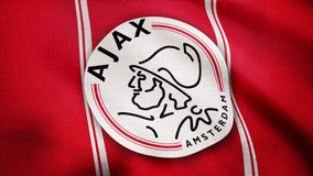 USA - NEW YORK, 12 August 2018: Ajax FC flag is waving. Close-up of waving flag with AFC Ajax football club logo royalty free stock photo