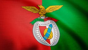 USA - NEW YORK, 12 August 2018: Benfica flag is waving. Close-up of waving flag with S.L. Benfica football club logo royalty free stock photo