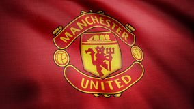 USA - NEW YORK, 12 August 2018: Waving FC Manchester United flag. Close-up of waving flag with Manchester United F.C. Waving FC Manchester United flag. Close-up royalty free stock image