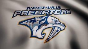 USA - NEW YORK, 12 August 2018: Waving flag with Nashville Predators NHL hockey team logo. Close-up of waving flag with. Waving flag with Nashville Predators NHL stock photos