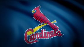 USA - NEW YORK, 12 August 2018: Waving flag with St. Louis Cardinals professional team logo. Close-up of waving flag. Waving flag with St. Louis Cardinals stock photos