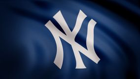 USA - NEW YORK, 12 August 2018: Waving flag with New York Yankees professional team logo. Close-up of waving flag with stock image