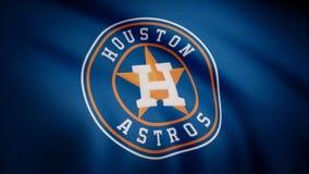 USA - NEW YORK, 12 Augusti 2018: Vinkande flagga med Houston Astros yrkesmässig laglogo Närbild av den vinkande flaggan med arkivbild