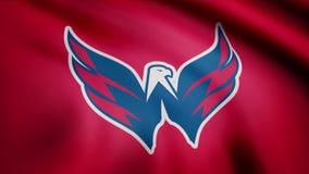 USA - NEW YORK, 12 Augusti 2018: Vinkande flagga med logo för Washington Capitals NHL-hockeylag Närbild av den vinkande flaggan m royaltyfri illustrationer
