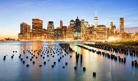 USA New York City horisont royaltyfri foto