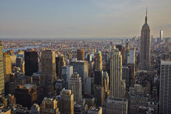 USA. New York City skyline aerial view at sunset - USA Stock Photo