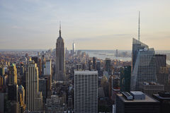 USA. New York City skyline aerial view at sunset - USA Royalty Free Stock Image