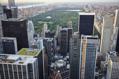 USA. New York City skyline aerial view at sunset - USA Royalty Free Stock Photography