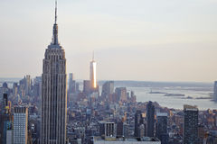 USA. New York City skyline aerial view at sunset - USA Stock Image