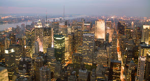 USA, New York from Empire State Building. Manhatten by night from the Empire State Building Stock Image
