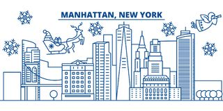 USA, New York, Manhattan winter city skyline. Merry Christmas and Happy New Year decorated banner. Winter greeting card Stock Photos