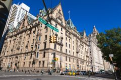 USA, NEW YORK - OCTOBER 15, 2013: Street Central Park West. Midtown NY. Dakota Apartments . Home of John Lennon Beatles royalty free stock photo