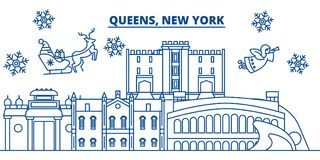 USA, New York, Queens winter city skyline. Merry Christmas and Happy New Year decorated banner. Winter greeting card Stock Image