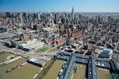 29 03 2007 USA, New York: Sikter av Manhattan från helicopten Arkivfoton