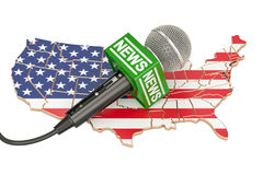 USA News concept, microphone news on the map of US. 3D rendering Stock Photography