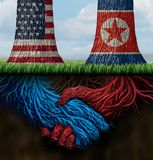 USA North Korea Agreement. And American and North Korean diplomacy between pyongyang and washington as tree roots connecting together with 3D illustration Royalty Free Stock Images