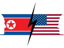 USA and North Korea flag. Confrontation between countries. Vector. Illustration Stock Image