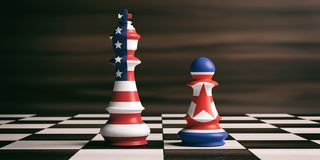 USA and North Korea flags on chess kings. 3d illustration. USA and North Korea relationship concept. US America and North Korea flags on chess kings on a chess Royalty Free Stock Photos