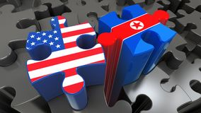 USA and North Korea flags on puzzle pieces. Political relationship concept. 3D rendering Royalty Free Stock Images