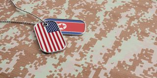 USA and North Korea military relations, Identification tags  on digital camouflage fabric. 3d illustration. USA and North Korea military relations Royalty Free Stock Photos