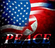 Usa North Korea Peace Love Flag 3d Illustration royalty free stock photography