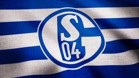 USA - NOWY JORK, 12 2018 Sierpień: FC Schalke 04 flaga macha na przejrzystym tle Zakończenie falowanie flaga z FC zdjęcia stock