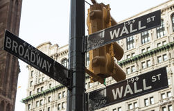 USA - NYC - Street signs on intersection of Wall street and Broa Stock Images