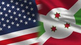USA och Burundi realistiska halvaflaggor tillsammans royaltyfri illustrationer