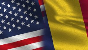 USA och Chad Realistic Half Flags Together vektor illustrationer