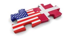 USA och Danmark pussel från flaggor Arkivbilder