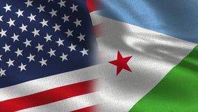 USA och Djibouti realistiska halvaflaggor tillsammans royaltyfri illustrationer