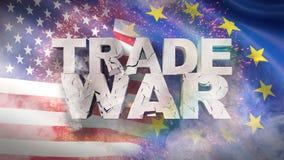 USA och EU-förhållandebegrepp Sprucket texthandelkrig p? flagga illustration 3d stock illustrationer